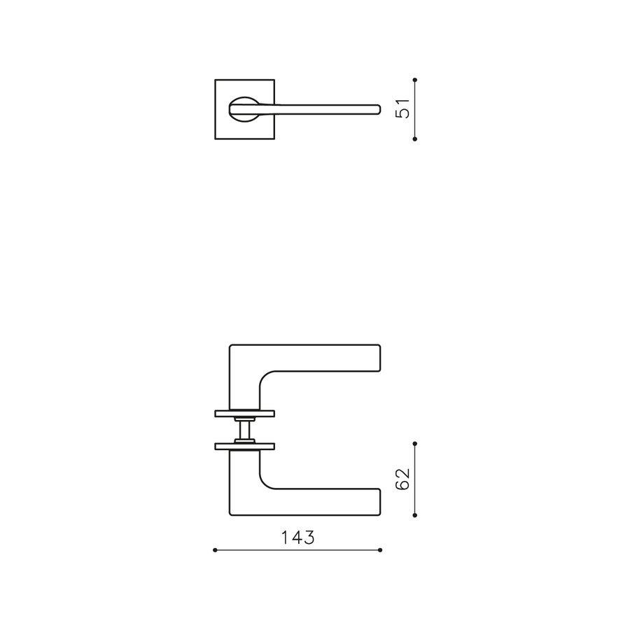 Olivari deurkruk Lotus Q op rozet antraciet mat titaan PVD