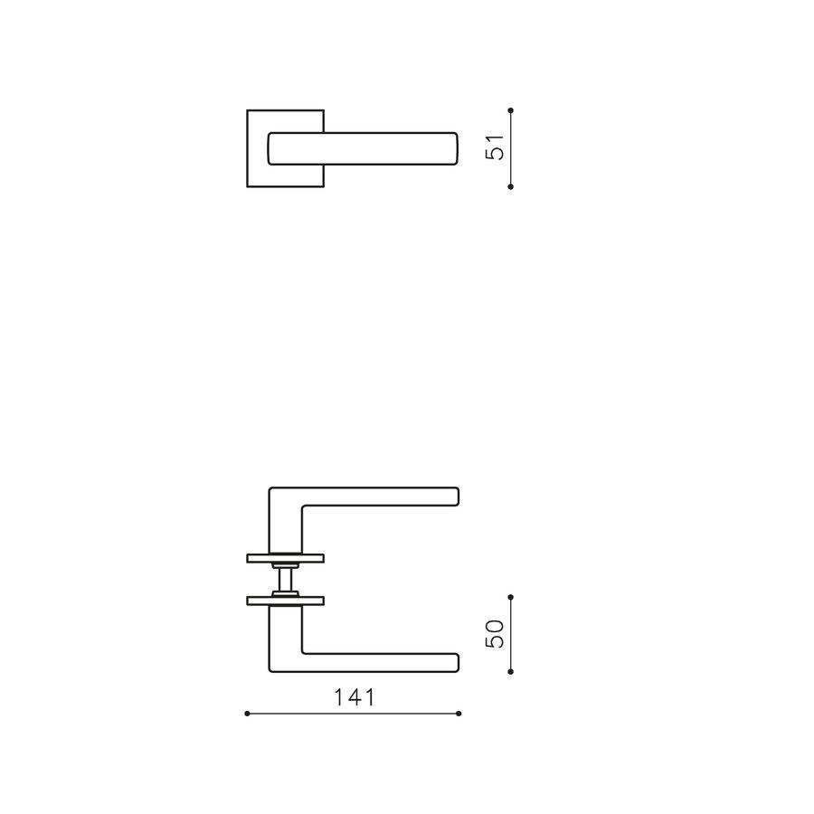 Olivari deurklinken Planet Q op rozet antraciet mat titaan PVD