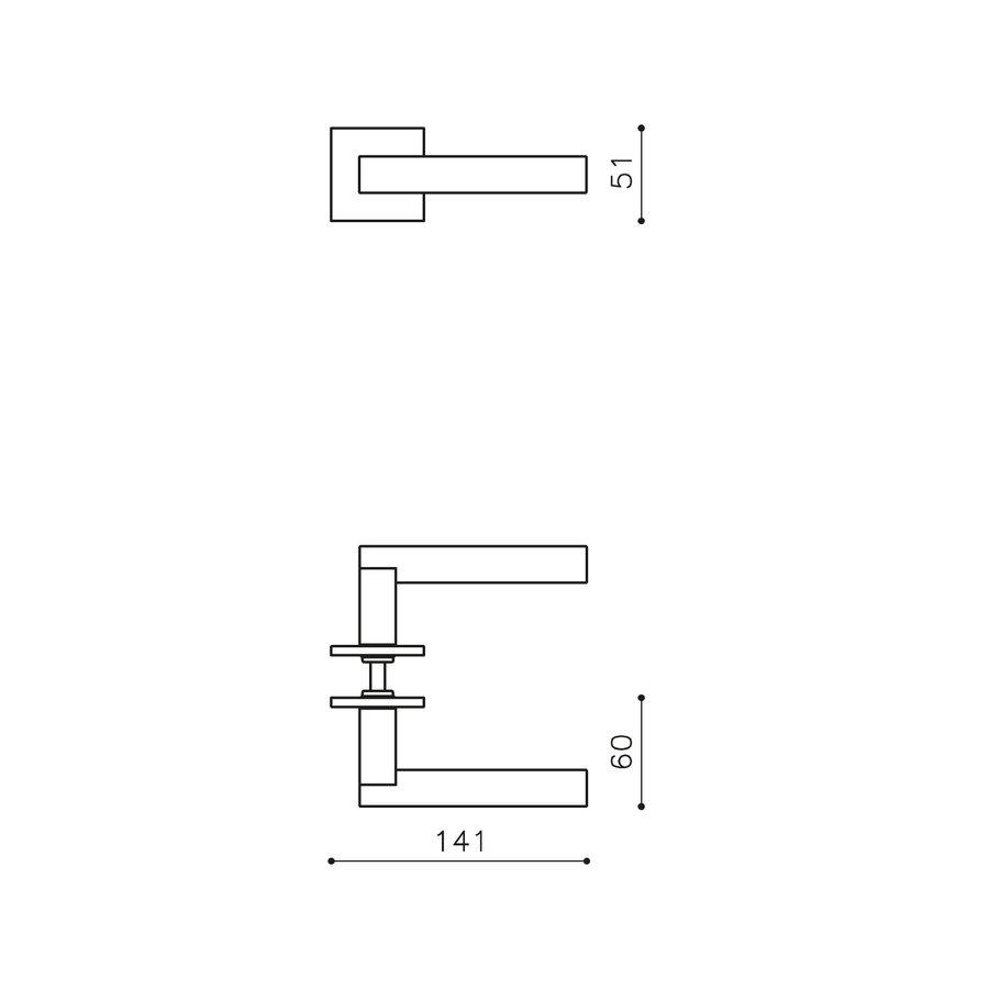 Olivari deurkruk Euclide Q op rozet antraciet mat titaan PVD