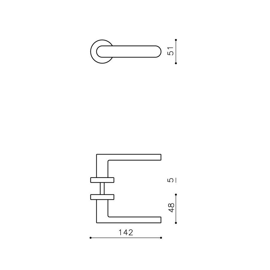 Olivari deurkruk Link op rozet messing mat titaan PVD zonder sleutelplaatjes