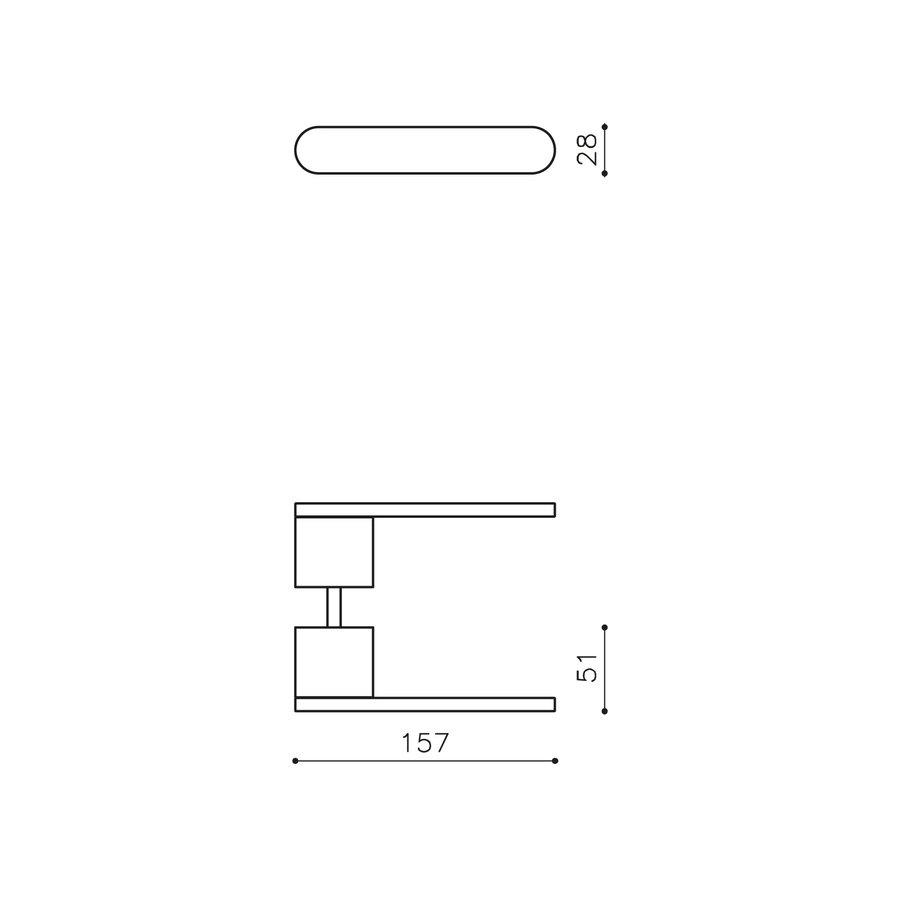 Olivari door handle Radial stainless steel matt titanium PVD