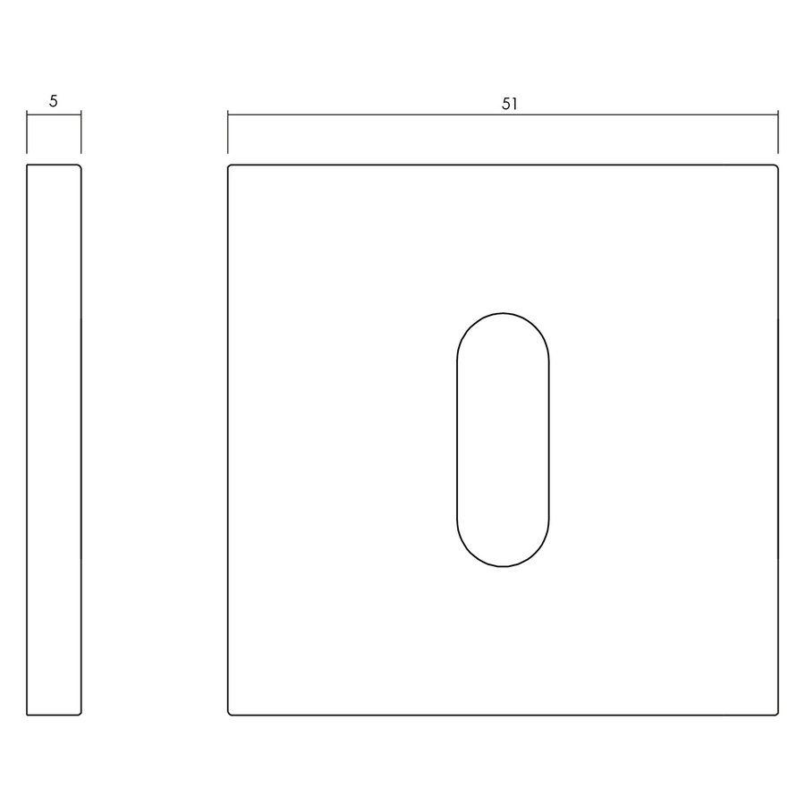 Olivari rosette square with keyhole stainless steel matt titanium PVD