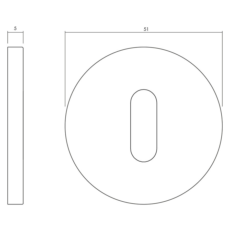 Olivari rosette round with keyhole stainless steel matt titanium PVD