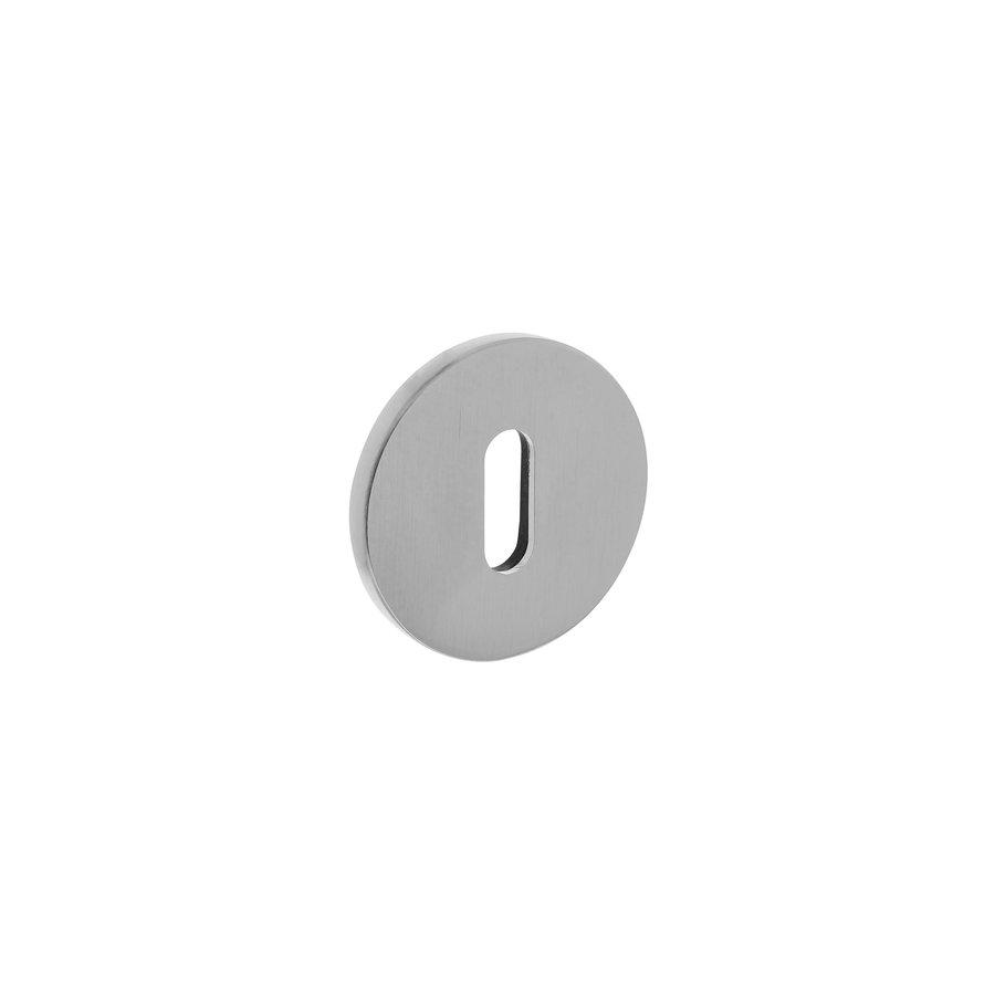 Rosace Olivari ronde avec trou de serrure chromé mat