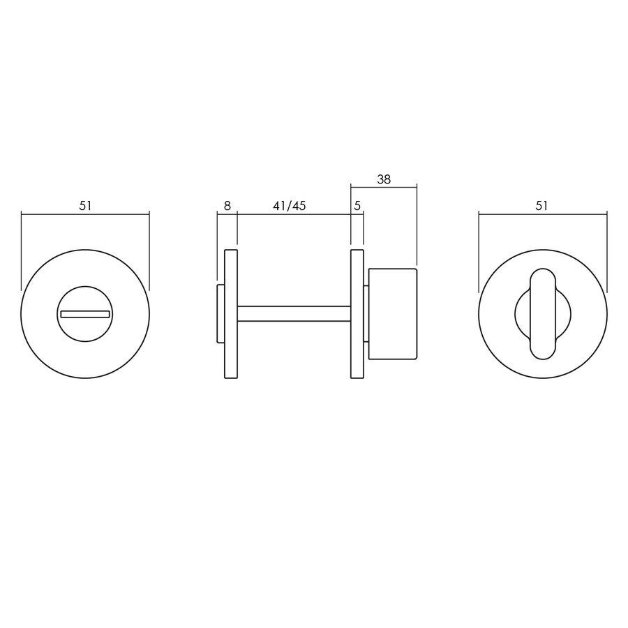 Olivari rozet toilet-/badkamersluiting rond rvs mat titaan PVD