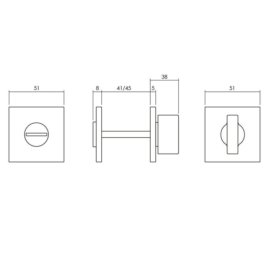 Olivari rozet toilet-/badkamersluiting vierkant rvs mat titaan PVD