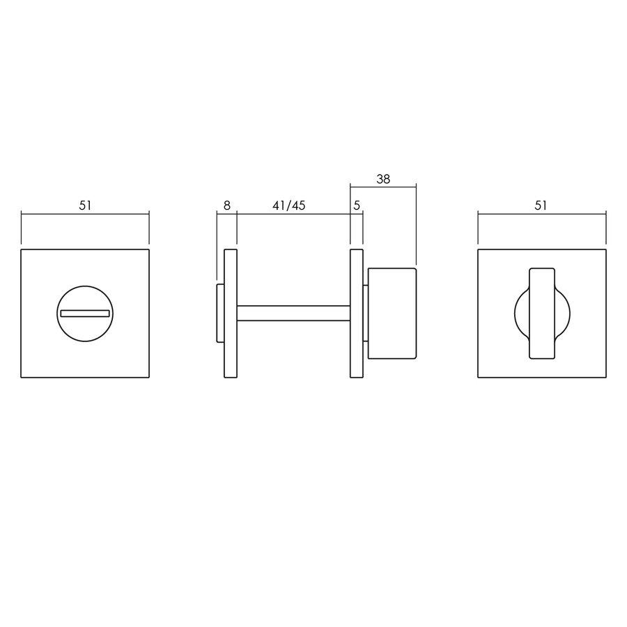 Olivari rozet toilet-/badkamersluiting vierkant messing titaan PVD