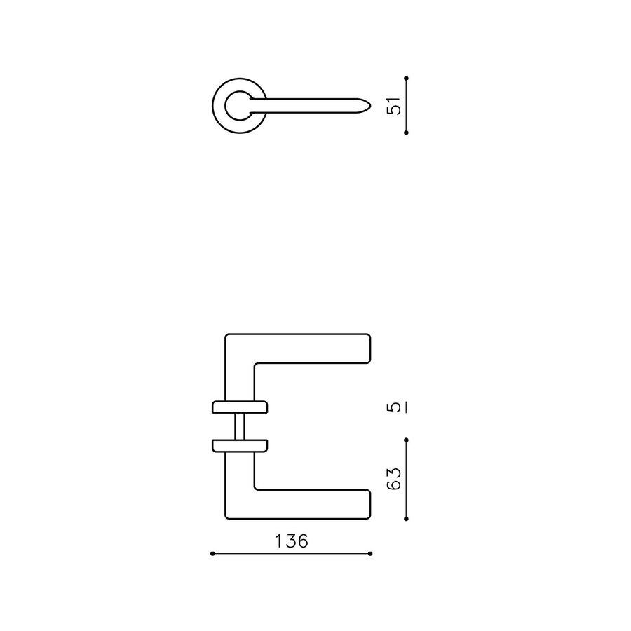 Olivari door handle Tecno on rosette brass matt titanium PVD
