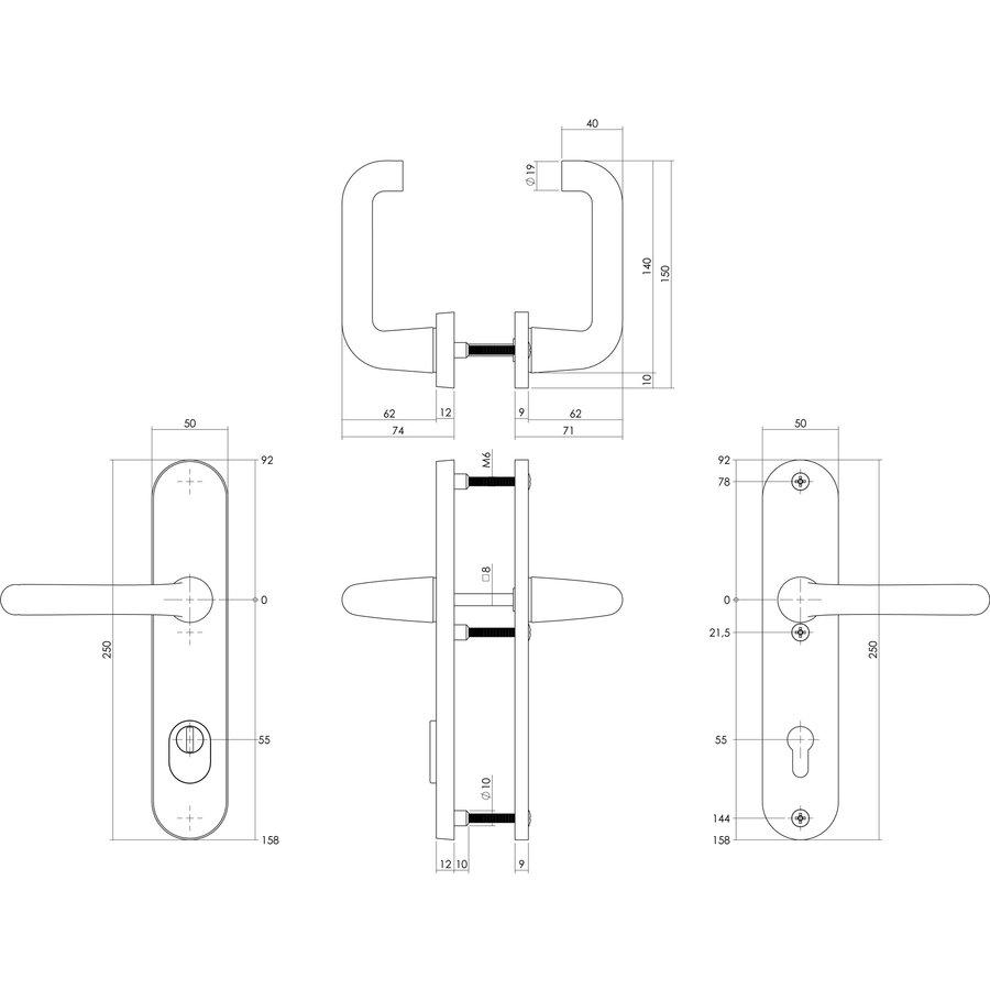 SKG3 Sicherheitsschilder gefederter griff/griff - Profilzylinderlochschaft Größe 55MM - mit Kernzugschutz - Aluminium schwarz