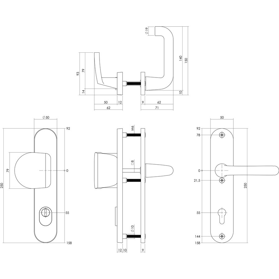 SKG3 Veiligheidsschilden geveerd Greep/Kruk - Profielcilindergat 55mm met kerntrekbeveiliging aluminium zwart