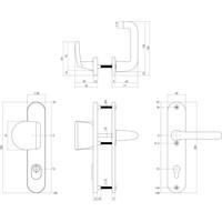 SKG3 Sicherheitsschilder Federgriff / Griff - Profilzylinderloch 72mm mit Kernzugschutz Aluminium schwarz