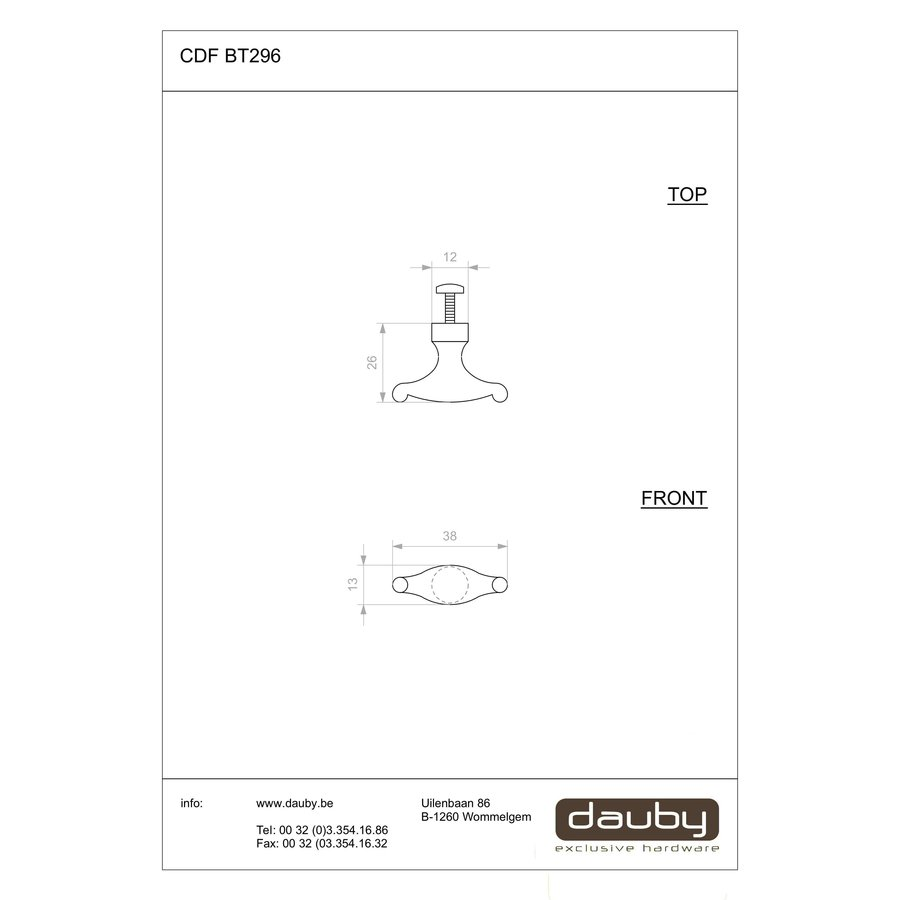 PIECE CDF FURNITURE KNOB BT296 RUST 40mm