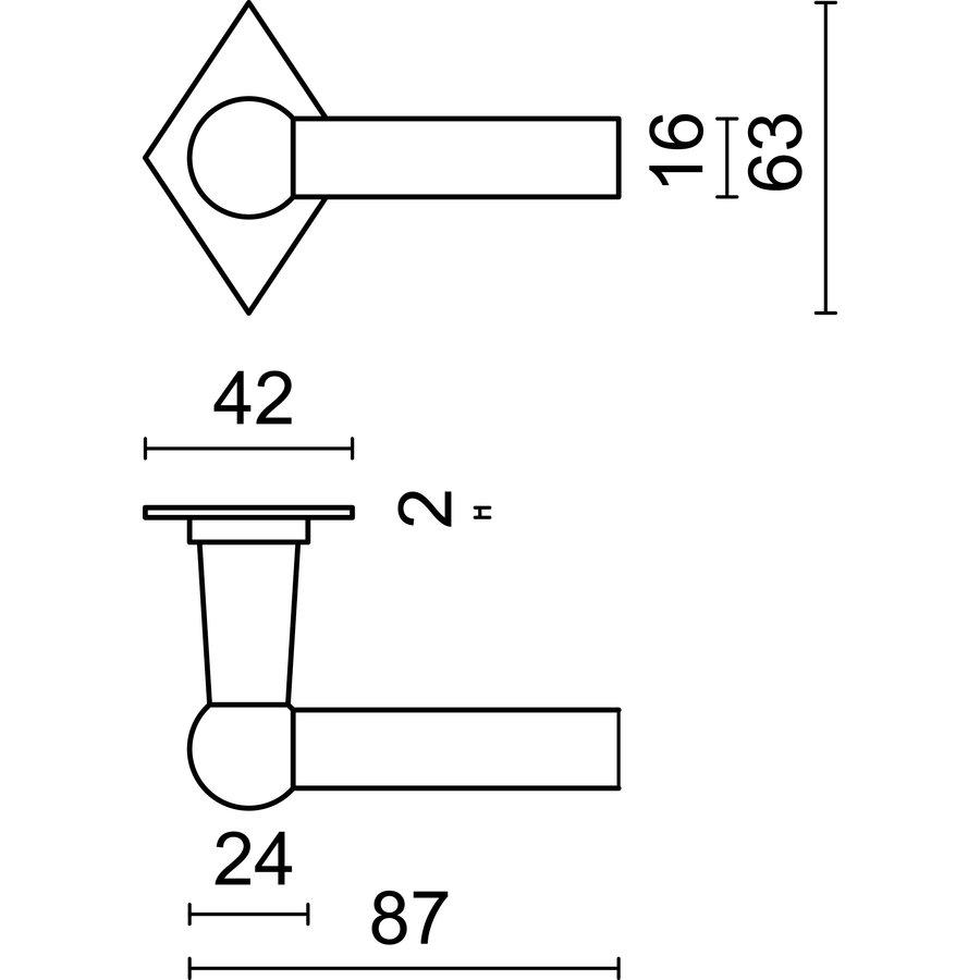 Deurklinken Petra L+L roest ruit met cilinderplaatjes