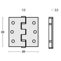 Kogellagerscharnier recht 89x89x2,5 RVS 304 + 8 schroeven