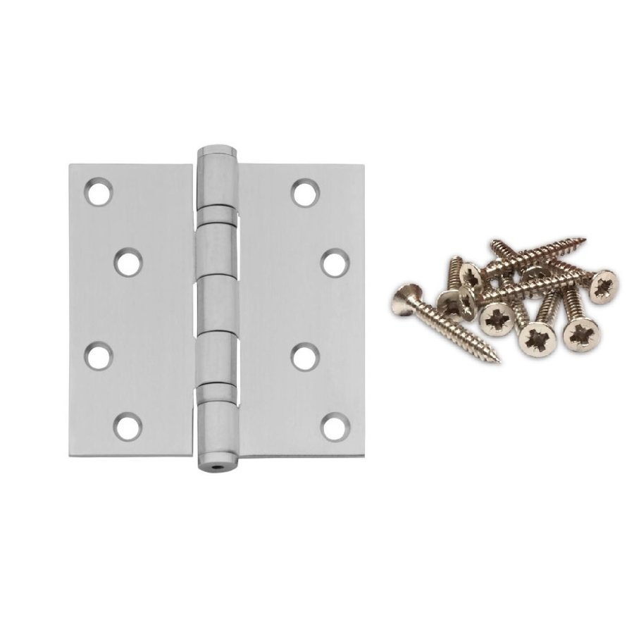 "Ball bearing hinge straight 3.5 """" (89x89x2.5) stainless steel 304 + 8 screws"