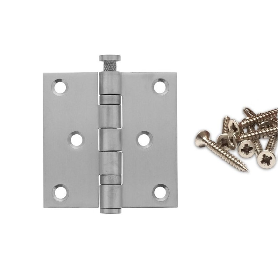 "Ball bearing hinge straight 3 """" (76x76x2.5) stainless steel 304 + 6 screws"