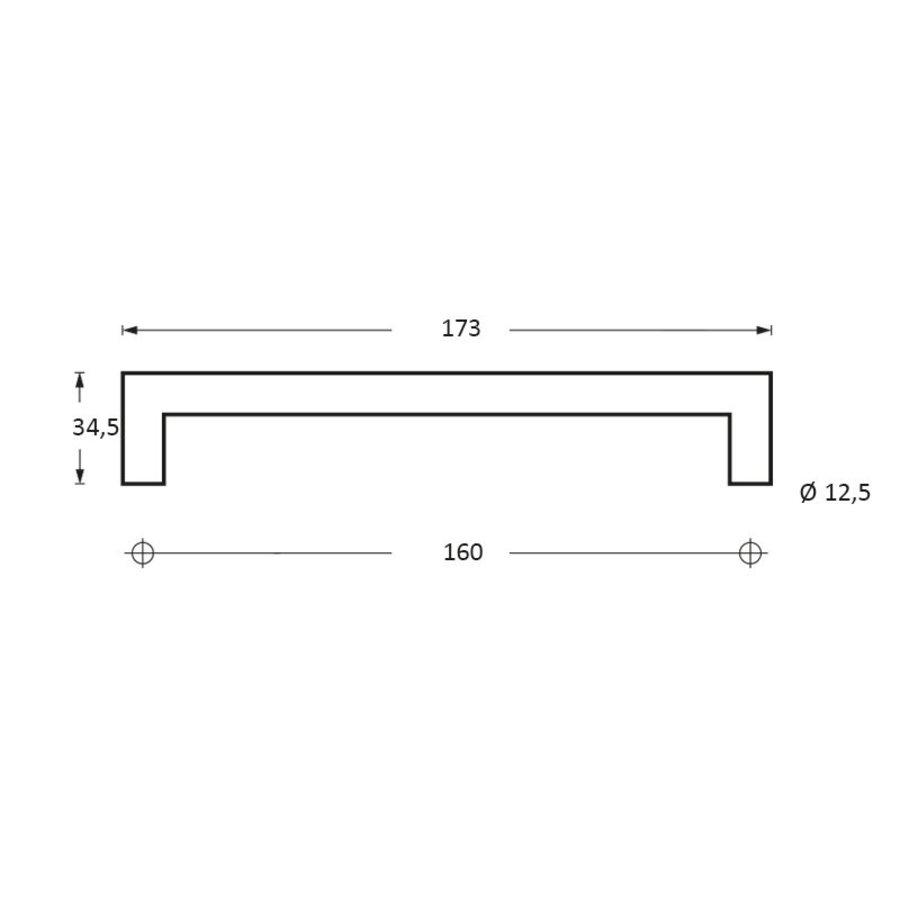 Meubelgreep 90° Ø13X173mm boormaat 160mm zwart