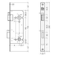 Litto WC-Schlossschaft Größe 116mm / Dorn 55mm, Edelstahloptik mit gerader Frontplatte 260x22mm