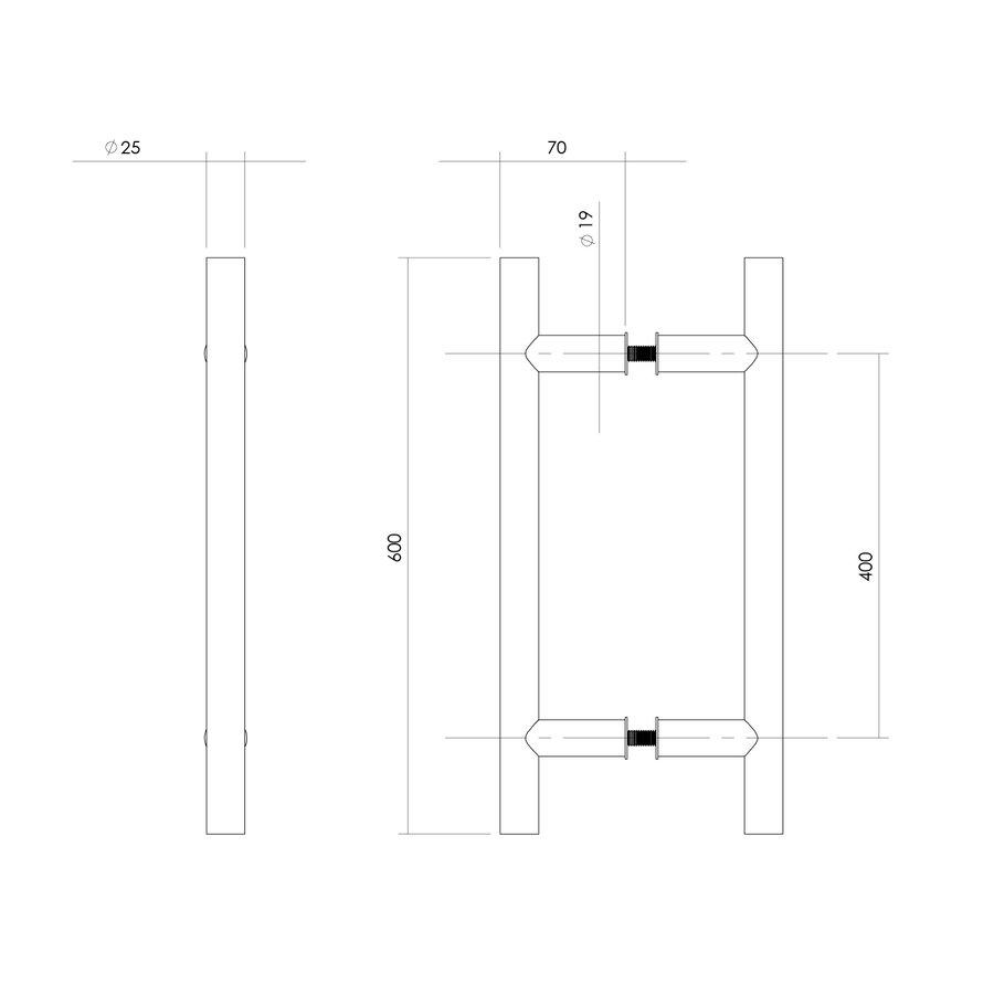 Deurgrepen T 25/400/600 paar voor glas RVS 304