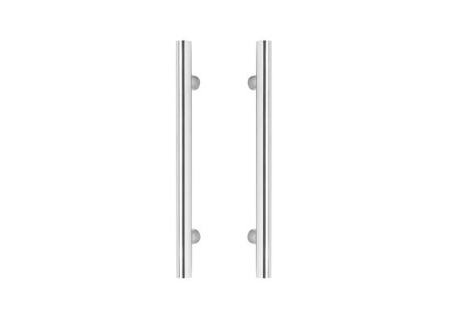 Door handles T 25/400/600 pair for glass stainless steel plus