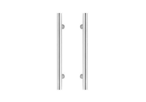 Poignées de porte T 25/400/600 paire pour verre inox plus