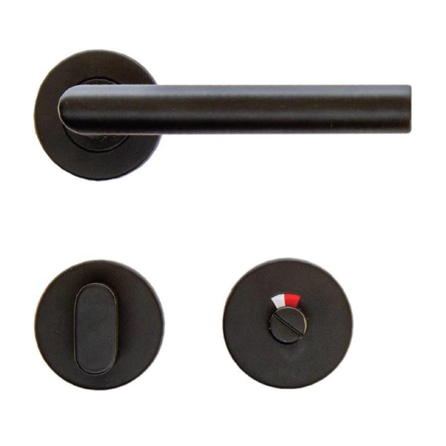 Zwarte deurklinken 'I Shape' 19mm met WC garnituur