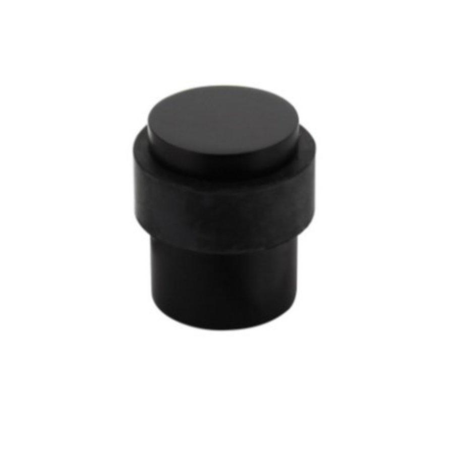 Zwarte deurstopper vloermontage Ø30X40mm