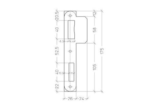 Zwarte afgeronde sluitplaat voor Litto 53 serie - 175x50mm