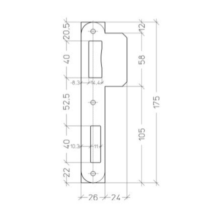 Zwarte afgeronde sluitplaat voor Litto inbouwsloten reeks 53 - 175x50mm