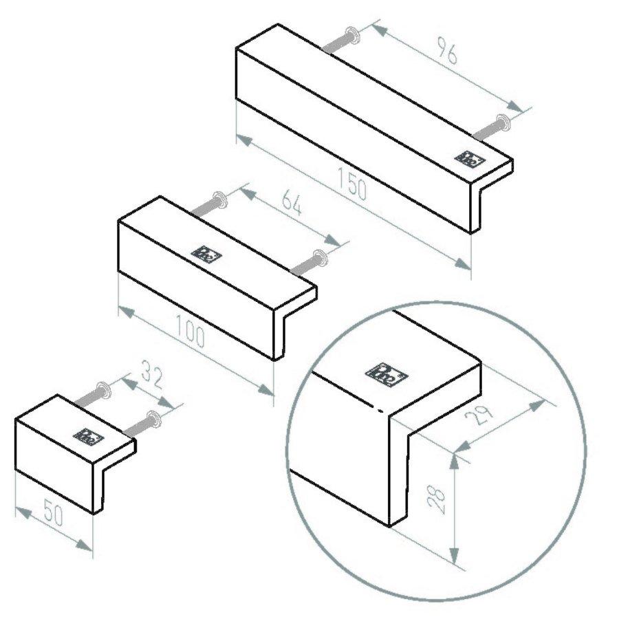 STUK MEUBELGREEP PML32/500 VEROUDERD IJZER – ZWART (VO) L50mm
