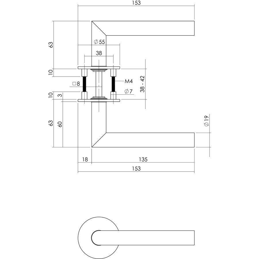 Deurklink hoek 90° geveerd op ronde magneet rozet RVS