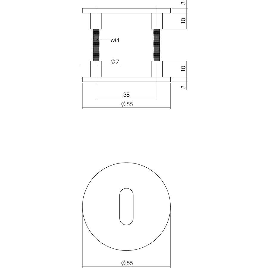 Platte RVS sleutelplaatjes rond met magneet per paar geleverd