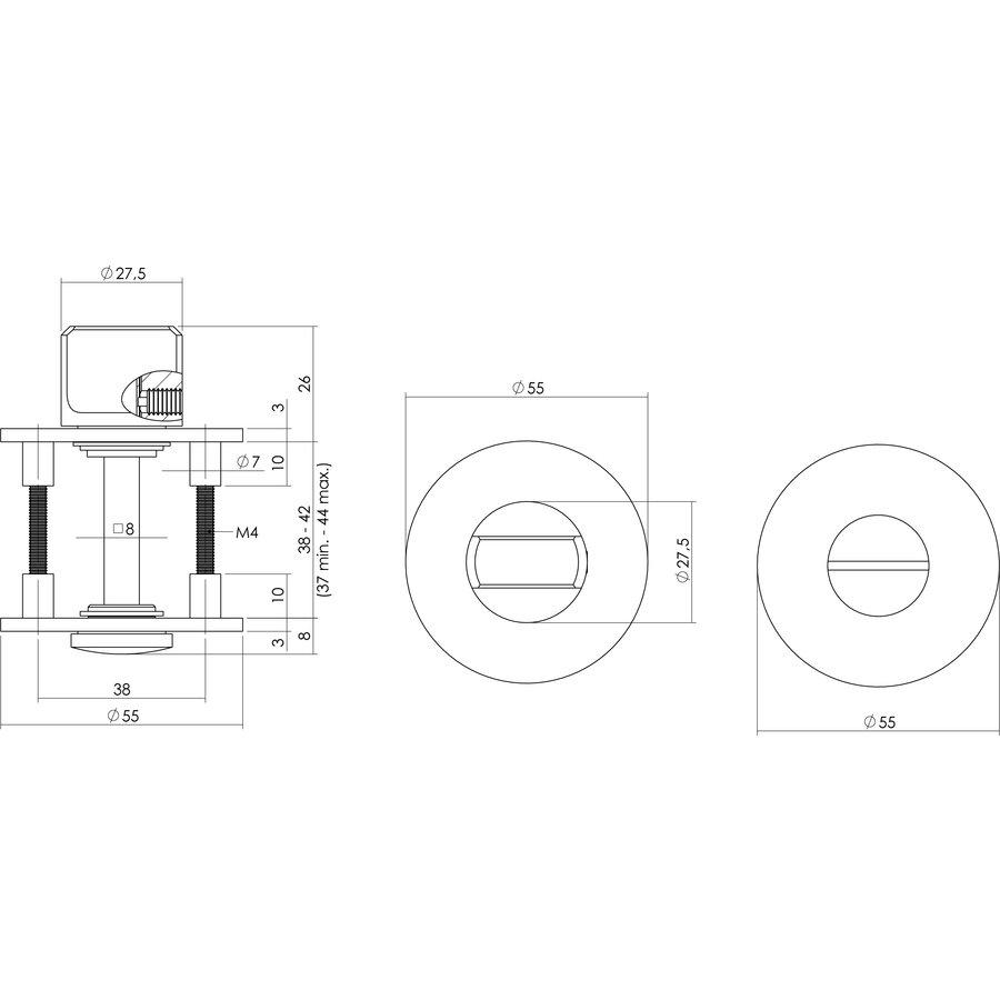 WC-SLUITING 8MM ROND PLAT VERDEKT MET MAGNEET RVS