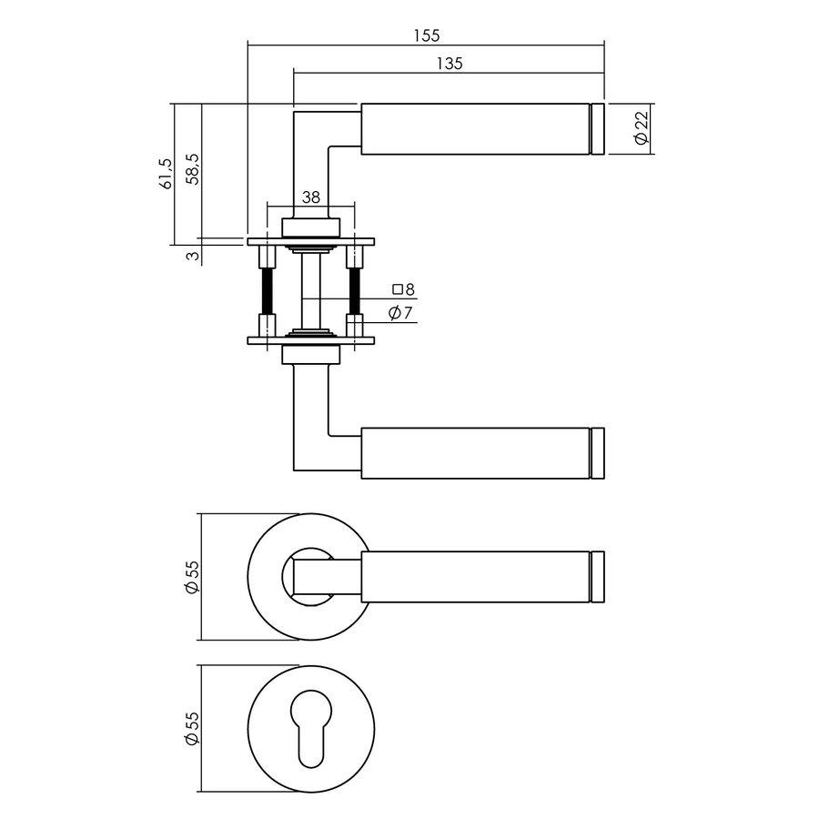 RVS Deurklinken Baustil vastdraaibaar geveerd op ronde magneet rozet  met PC  plaatjes