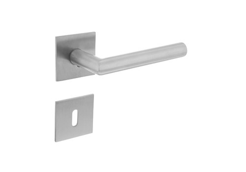 DOOR HANDLE ANGLE 90 ° SPRING ON SQUARE MAGNET ROSETTE WITH KEYPLATES STAINLESS STEEL