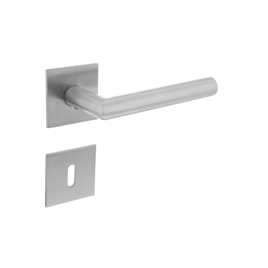 DOOR HANDLE ANGLE 90 ° FIXED SPRING ON SQUARE MAGNET ROSETTE WITH KEY PLATES STAINLESS STEEL