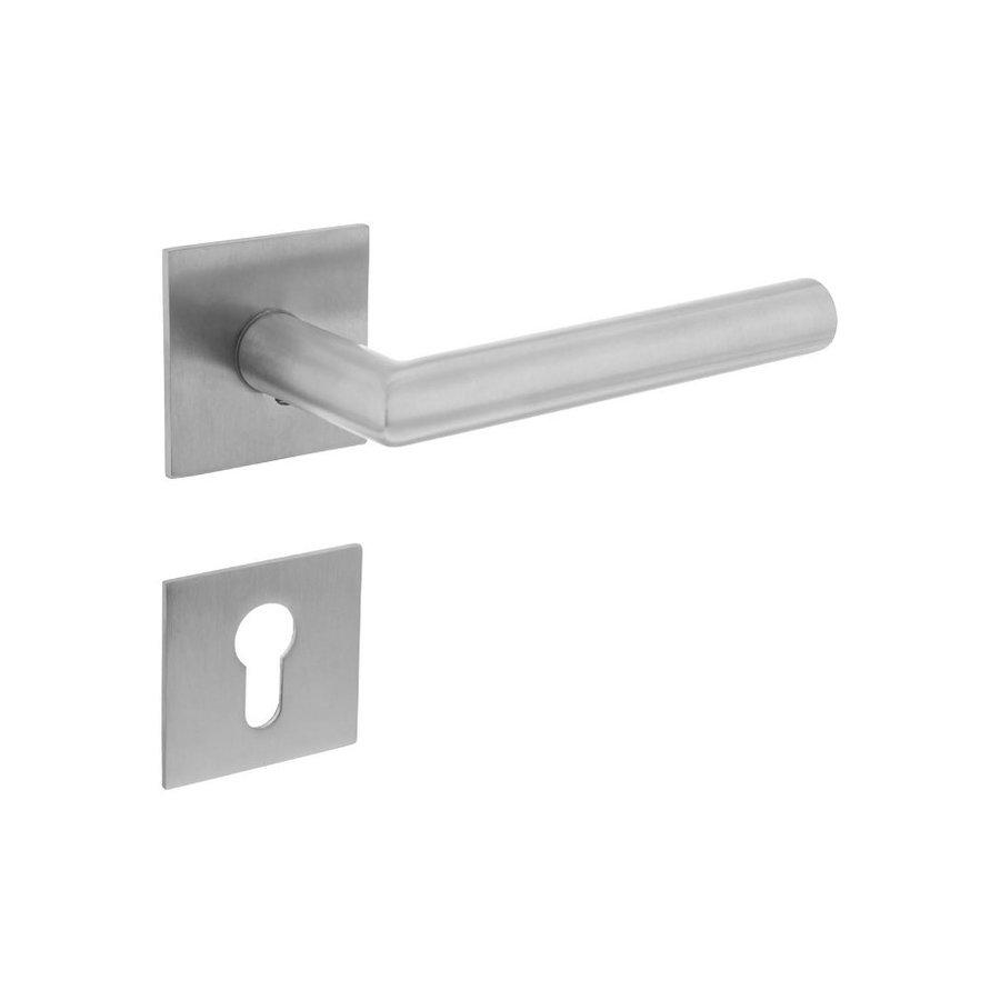 RVS deurklinken Hoek 90° geveerd met cilinderplaatjes op vierkante magneet rozetten