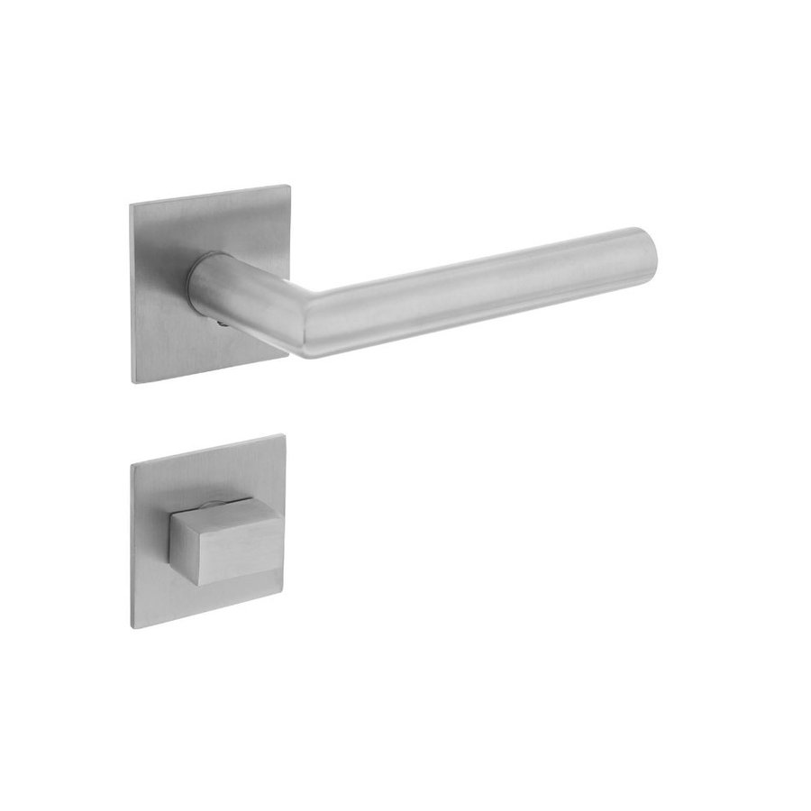 DOOR HANDLE ANGLE 90 ° FIXED SPRING ON SQUARE MAGNET ROSETTE WITH WC8MM STAINLESS STEEL