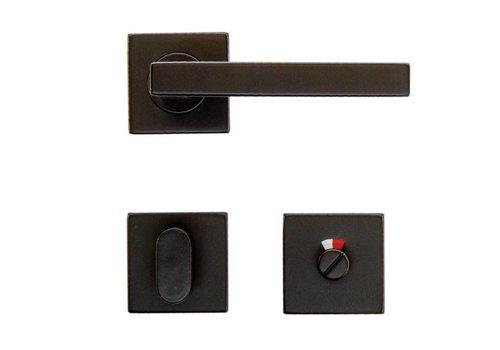 Zwarte deurklinken Kubic Shape met WC garnituur