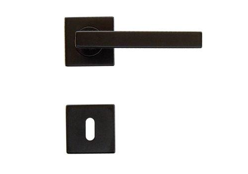 Poignées de porte noires Kubic Shape avec plaques à clés