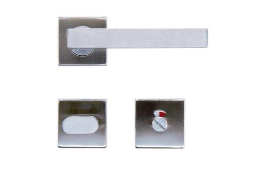 Stainless steel door handles Kubic shape 19mm + toilet