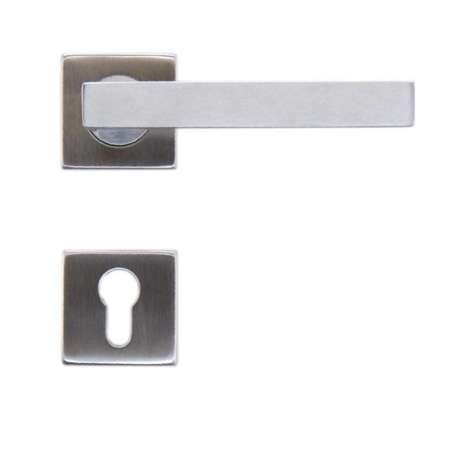 RVS deurklinken Kubic shape 19mm met cilinderplaatjes