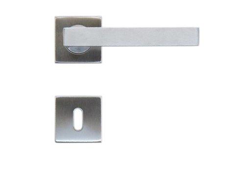 Poignées de porte en acier inoxydable forme Kubic 19mm avec plaques porte-clés