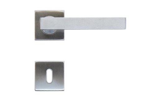 Stainless steel door handles 'Cubic shape 19mm' with BB