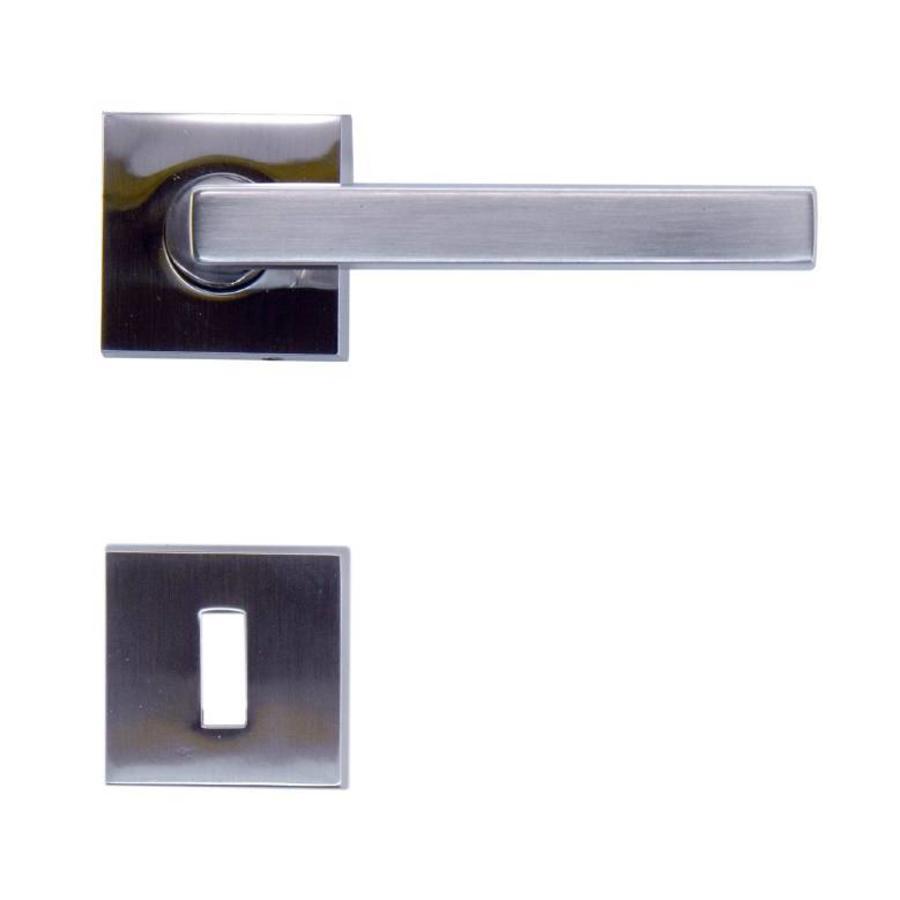 Rvs look deurklinken Luïs met sleutelplaatjes