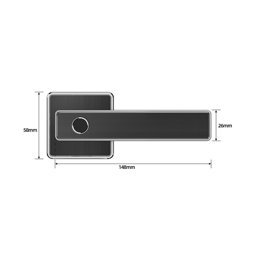Intelligent door handle D20 black on square rosette with finger scan