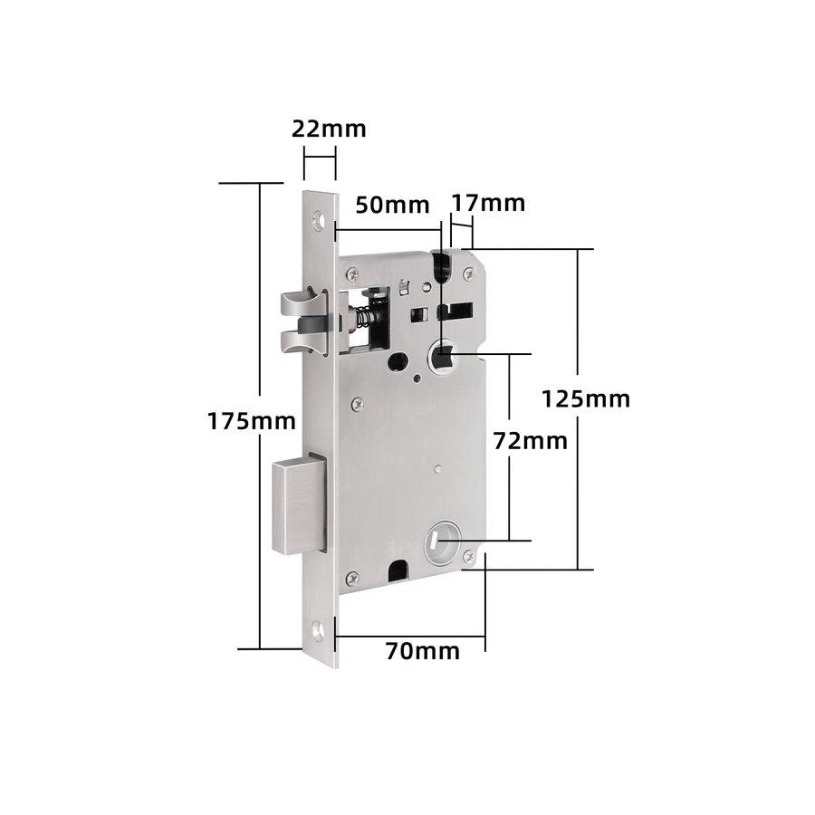Intelligente deurkruk D20 zwart op vierkant rozet met vingerscan