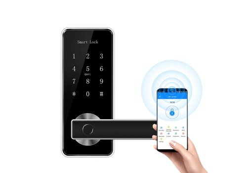 Smart door handle D11B black with finger scan