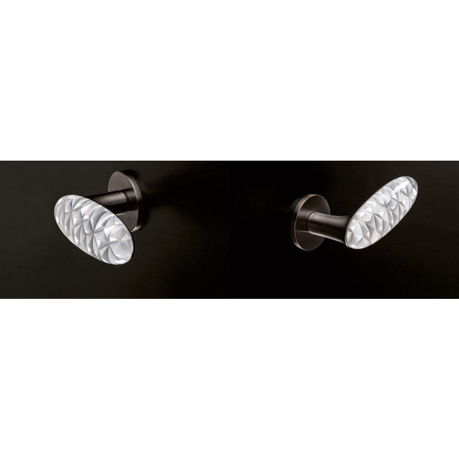 Deurkruk Crystal Diamond Super Anthraciet satijn/transparant
