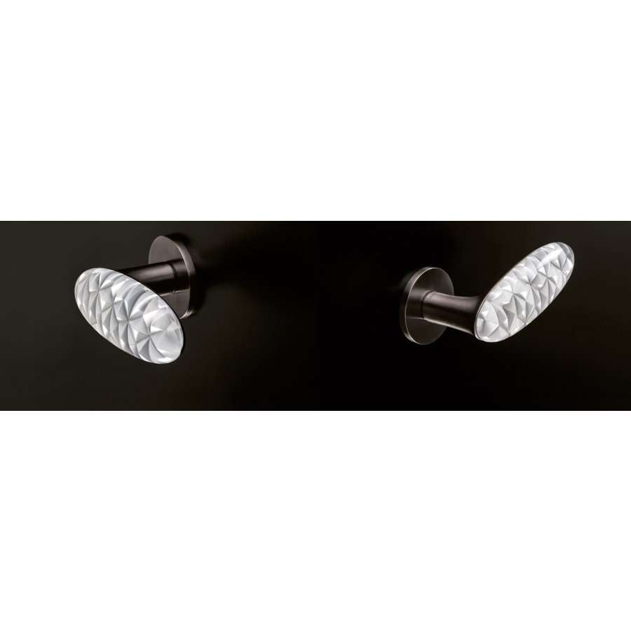 Olivari deurklinken Crystal Diamond Super Anthraciet satijn/transparant